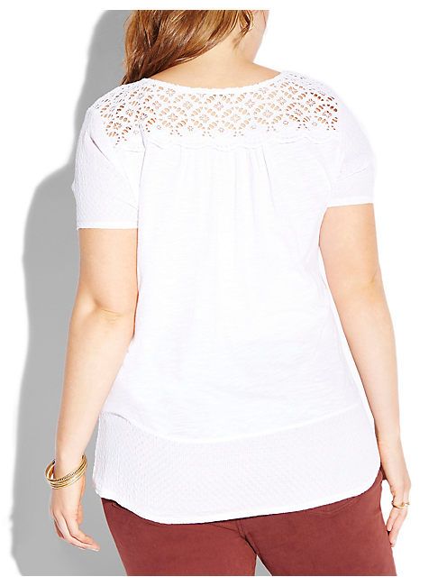 AUBREY LACE TOP, LUCKY WHITE