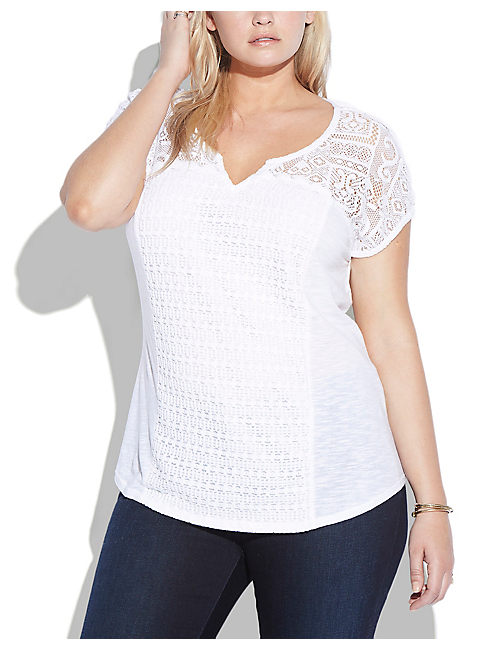LACE PATCHWORK TOP, LUCKY WHITE