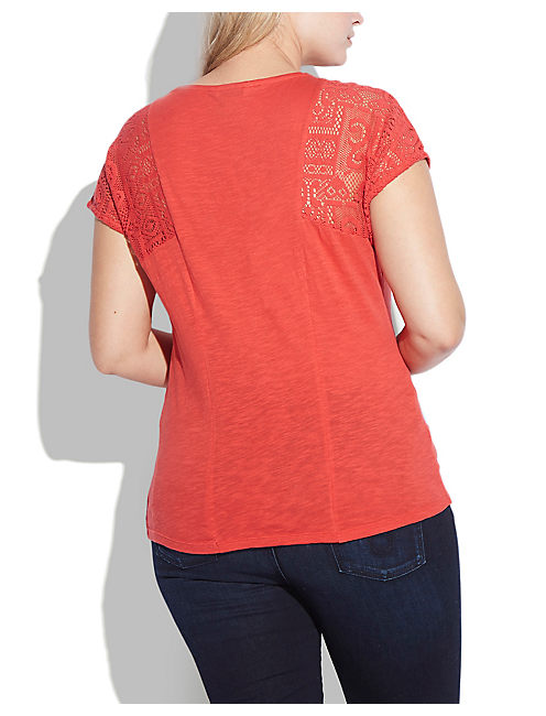 LACE PATCHWORK TOP, RIBBON RED #19-1663 TCX