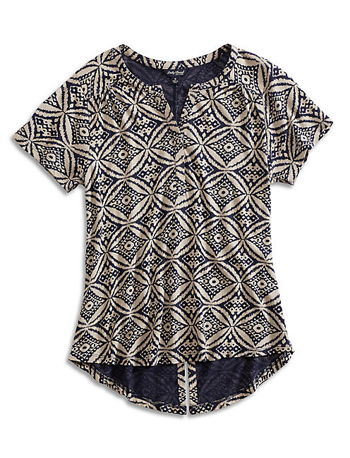 IKAT CIRCLES TOP, NAVY MULTI