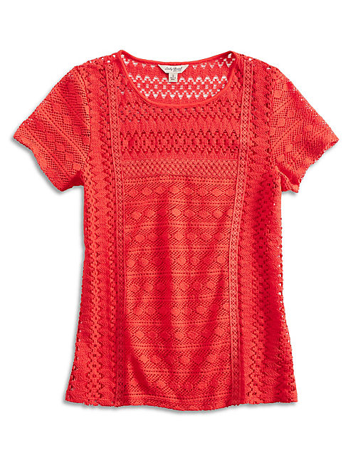 VINE LACE TOP, RED