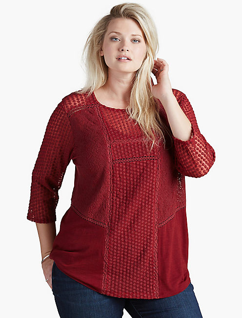 LACE PEASANT TOP, RICH DARK RED