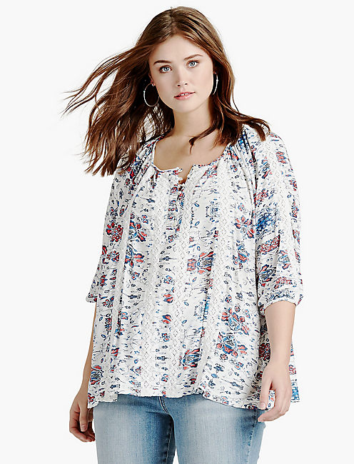 PRINTED KNIT AND LACE TOP,