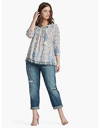 LUCKY PRINTED PEASANT TOP