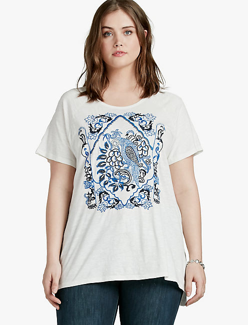 EMBROIDERED BIRD TOP,