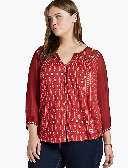BORDER PRINT TOP, RED MULTI