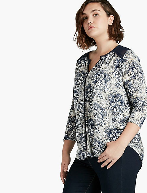 PRINTED WOVEN MIX TOP,