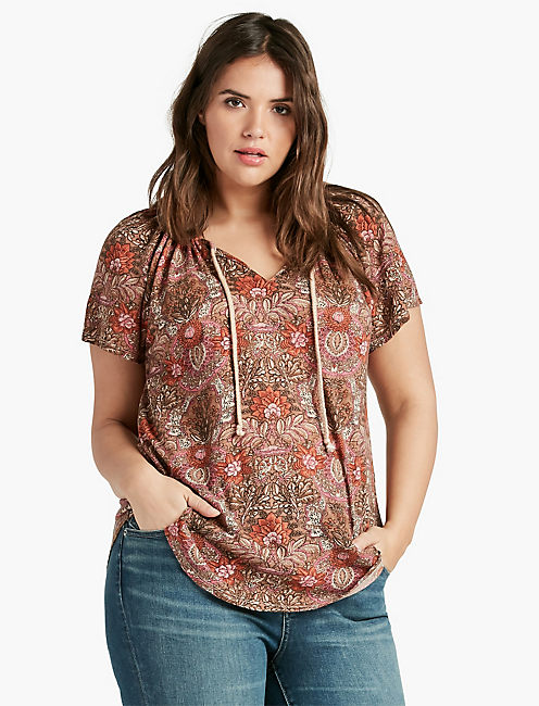 WOVEN MIXED PRINTED TOP,