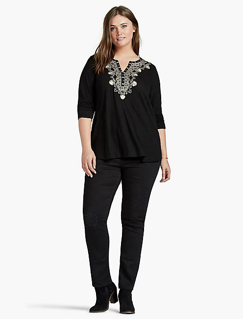 EMBELLISHED BIB TOP,