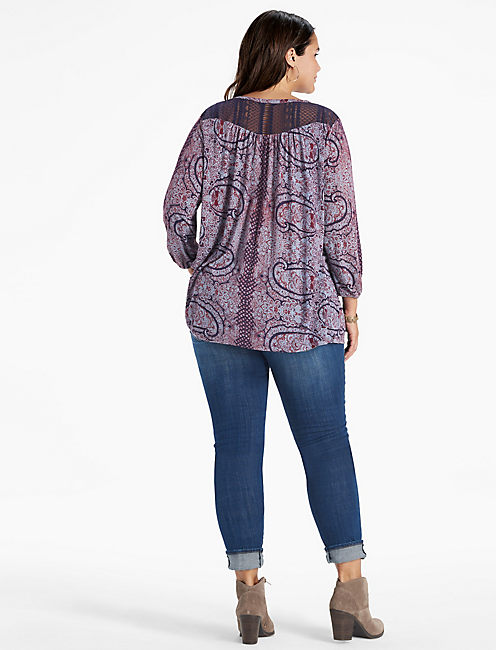 LACE YOKE PEASANT TOP,