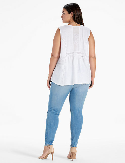 WOVEN MIXED SHELL TOP,