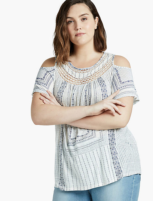 COLD SHOULDER CROCHET TOP,