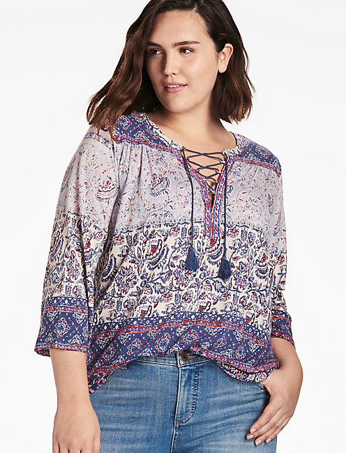 LACE UP PEASANT TOP,