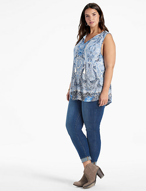 Lucky Paisley Printed Shell Top