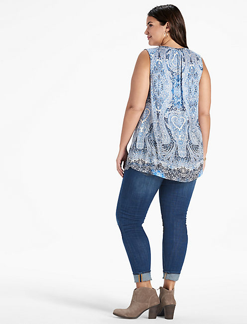 PAISLEY PRINTED SHELL TOP,