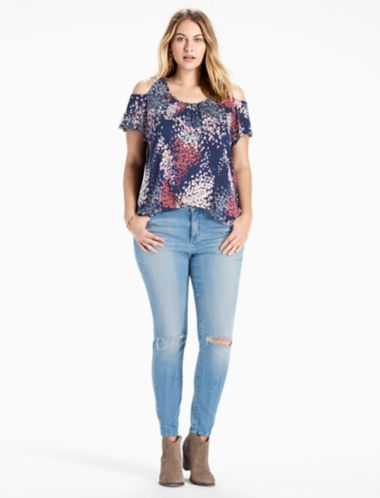 Lucky Floral Cold Shoulder Top