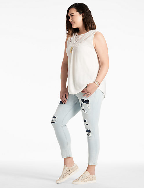 Lucky Mixed Lace Yoke Tank