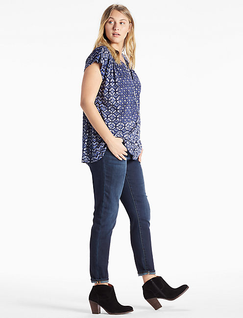 DECANTA BORDER PRINT TOP, BLUE MULTI