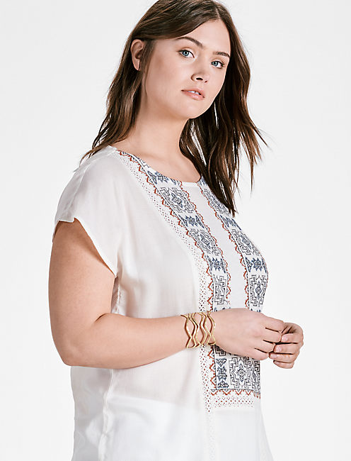 EMBROIDERED MIX TOP,