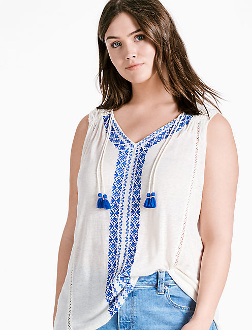 EMBROIDERED CENTER FRONT TOP,