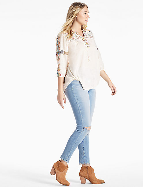 Lucky Lace Up Embroidered Top