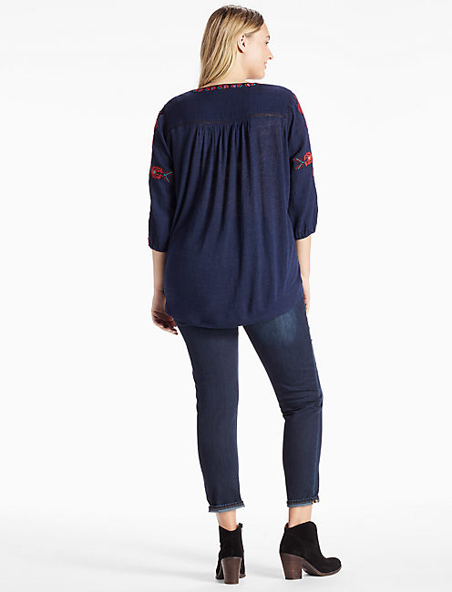 LACE UP EMBROIDERED TOP, AMERICAN NAVY