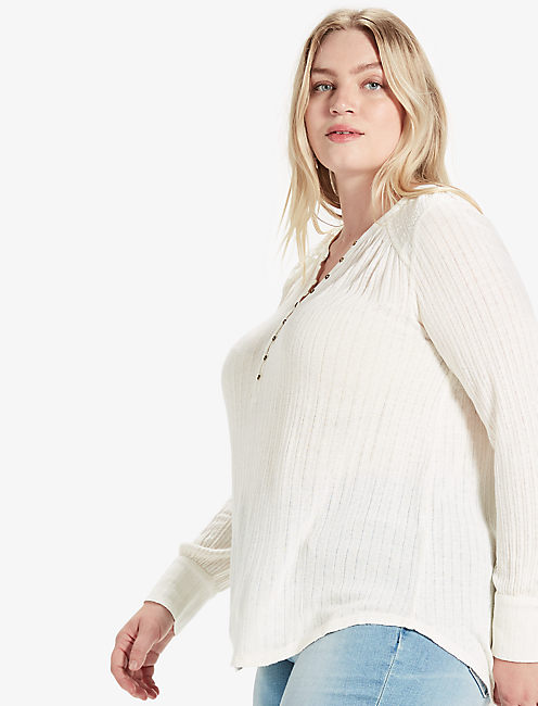 EMBROIDERED MIX HENLEY,