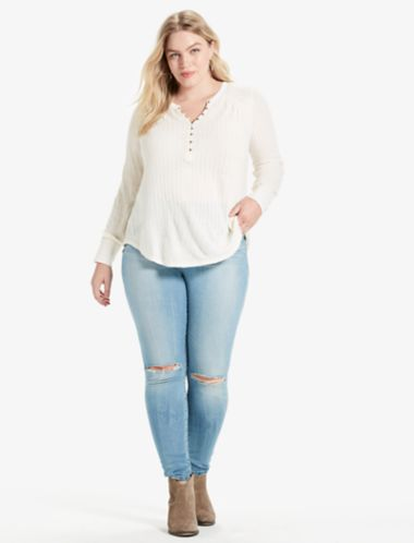 Lucky Embroidered Mix Henley