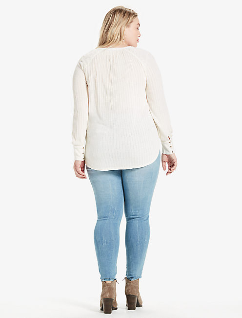 EMBROIDERED MIX HENLEY, MARSHMALLOW