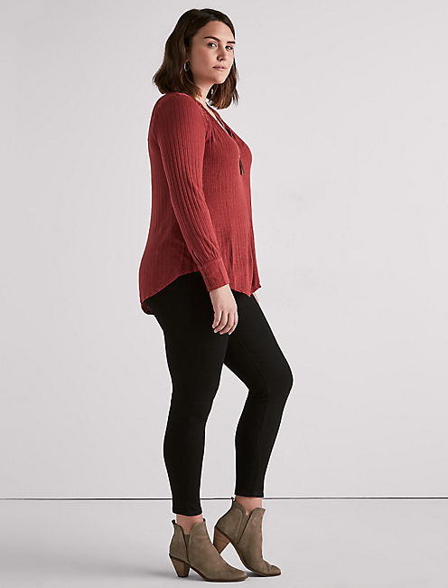 EMBROIDERED MIX HENLEY, RED PEAR