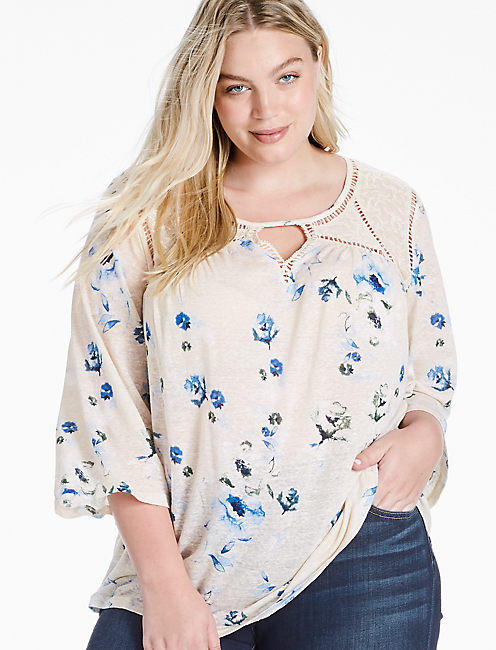 FLORAL LACE MIX PEASANT TOP,