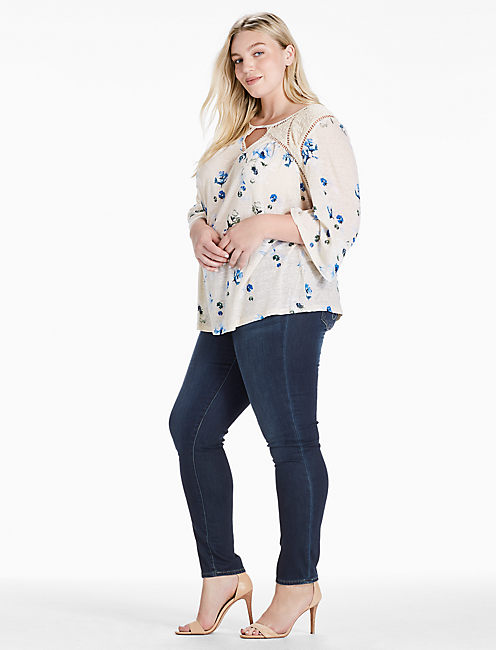 Lucky Floral Lace Mix Peasant Top