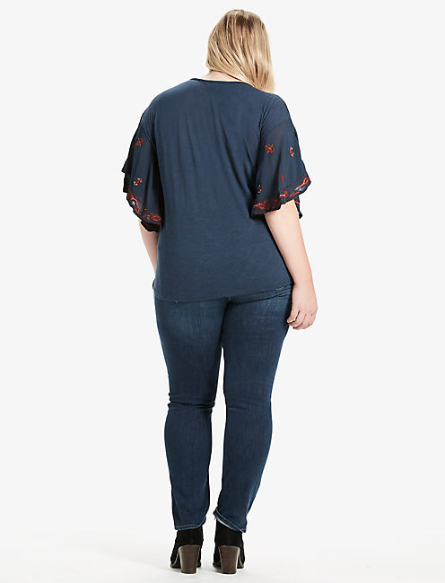 LACE UP EMBROIDERED PEASANT TOP, BLUEBERRY
