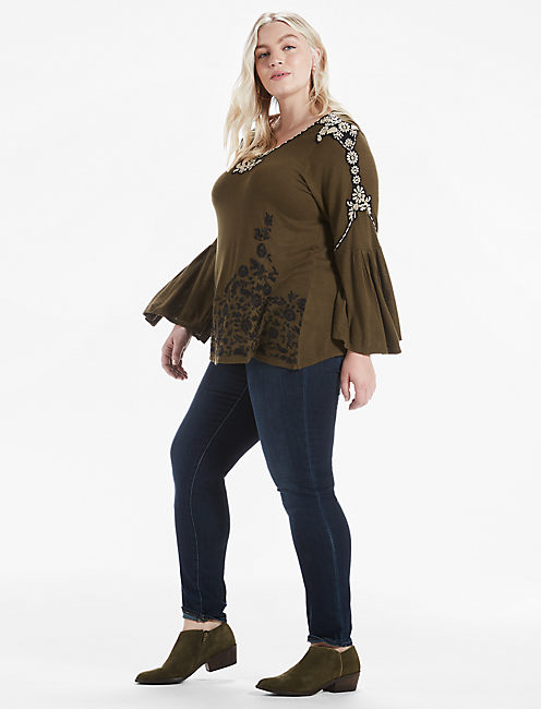Lucky Embroidered Bell Sleeve Top
