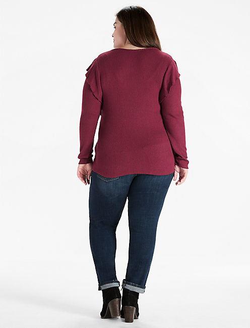 RIB RUFFLE TOP, #6729 TAWNY PORT