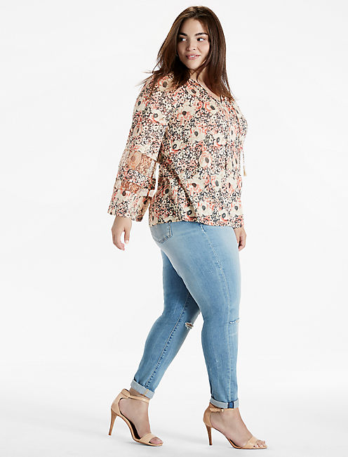 Lucky Printed Woven Mix Peasant Top