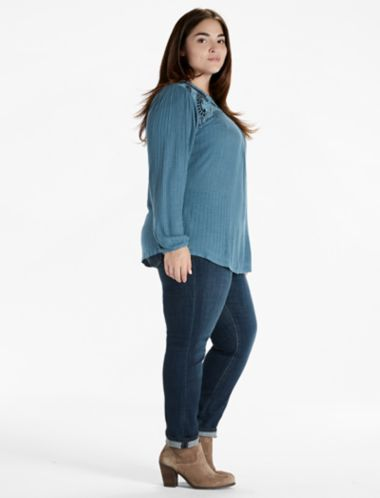 Lucky Velvet Applique Yoke Top