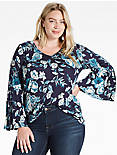 ENCINITAS BELL SLEEVE TOP, BLUE MULTI