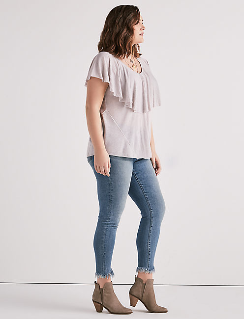 BURNOUT RUFFLE TOP,