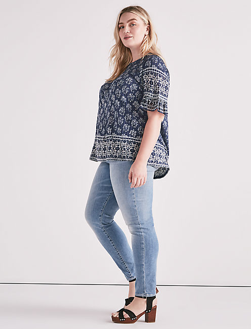 Lucky Printed Ruffle Top