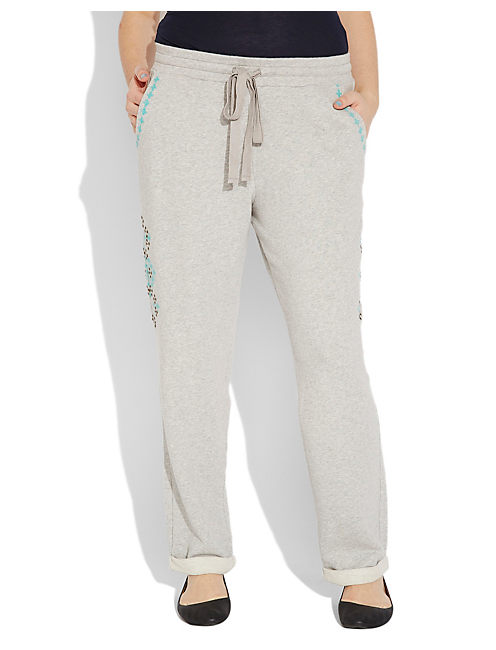 EMBELLISHED SWEATPANT, LIGHT HEATHER GREY