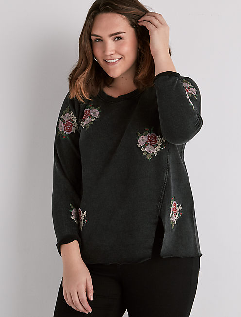 EMBROIDERED ROSE PULLOVER,