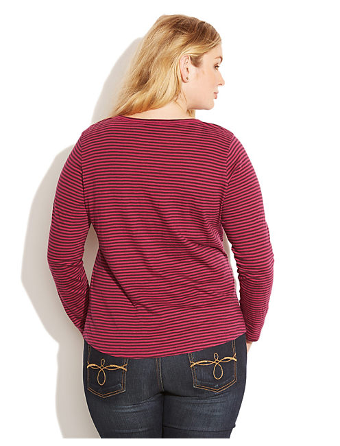 CARINA STRIPE SLUB TEE, PURPLE STRIPE