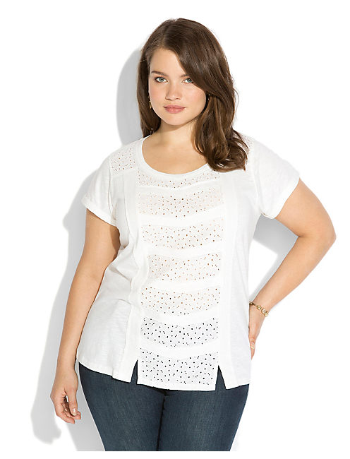 GLENDALE PATCHWORK TEE, LUCKY WHITE