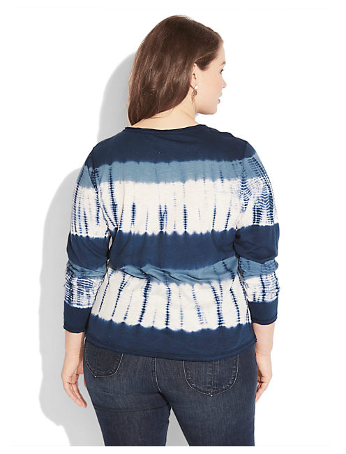 WATERCOLOR STRIPE HENLEY, AMERICAN NAVY