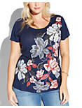 CASCADING FLORAL TEE, AMERICAN NAVY