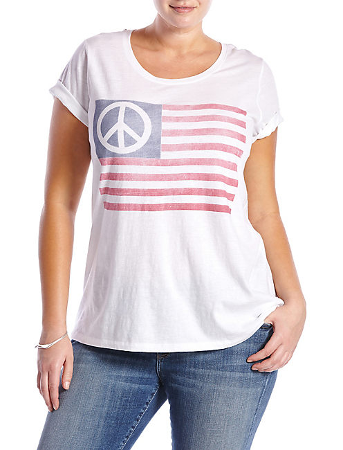 PEACE FLAG TEE, LUCKY WHITE