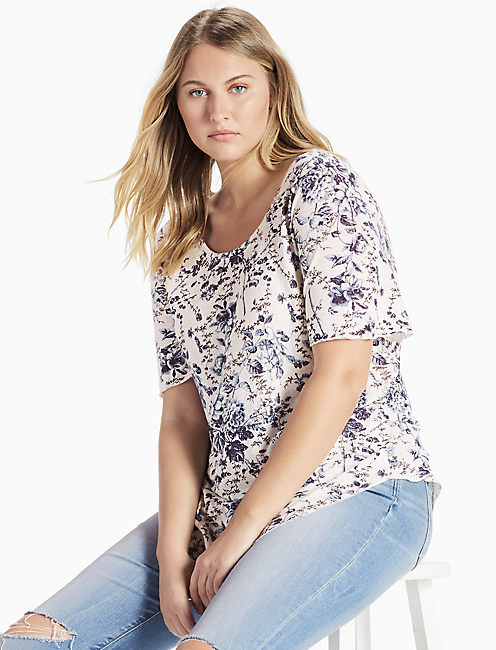 FLORAL TEE, NATURAL MULTI