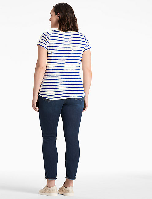 STRIPE V-NECK TEE,