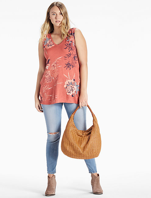 BIRDS FLOWER SCROLL TANK,